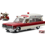 CADILLAC s&s 1966 HIGH TOP AMBULANCE RED/WHITE 1:18 Greenlight Ambulanze Die Cast Modellino