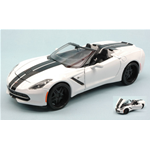 CHEVROLET CORVETTE STINGRAY 2014 WHITE WITH BLACK STRIPES 1:24 Maisto Tuning Die Cast Modellino