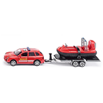 CAR WITH TRAILER AND HOVERCRAFT 1:50 Siku Auto Stradali Die Cast Modellino