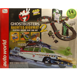 GHOSTBUSTERS HAUNTED HIGHWAY PISTA SLOT CON 2 AUTO 1:64 (Mt. 4,30) Auto World Slot Die Cast Modellino