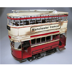 MANCHESTER TRAMCAR RED & YELLOW 1903 cm 35 Timplate Gift's Art.Vari Die Cast Modellino