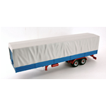 AUFLIEGER CAMION TRAILER WITH CANVAS COVER GREY/LIGHT BLUE 1:43 Ixo Model Camion Die Cast Modellino
