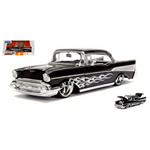 CHEVY BEL AIR 1957 BLACK WITH WHITE FLAMES 1:24 Jada Toys Tuning Die Cast Modellino
