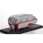 AERO FLITE FALCON 1947 TRAVEL TRAILER SILVER/RED 1:43 Neo Scale Models Campers-Roulottes Die Cast Modellino