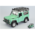 LAND ROVER DEFENDER LIGHT GREEN/WHITE WITH ROOF RACK 1:24 Welly Auto Stradali Die Cast Modellino