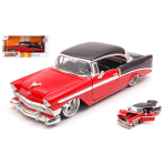 CHEVROLET BEL AIR HARD TOP 1956 RED/BLACK 1:24 Jada Toys Tuning Die Cast Modellino
