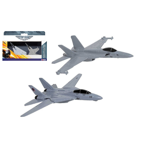 TOP GUN TWIN PACK F14 TOMCAT 1986 mm 110 AND FA-18 HORNET 2020 mm 80 Airfix Kit Aerei Die Cast Modellino
