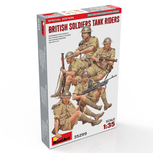 BRITISH SOLDIERS TANK RIDERS KIT 1:35 Miniart Kit Figure Militari Die Cast Modellino